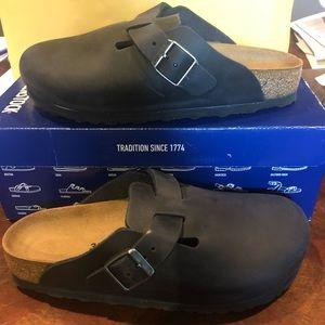 Birkenstock Boston black leather 7 narrow new